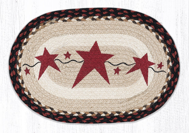 "Capitol Earth Rugs Burgundy Primitive Star Printed Placemat, 13"" x 19"" Oval"