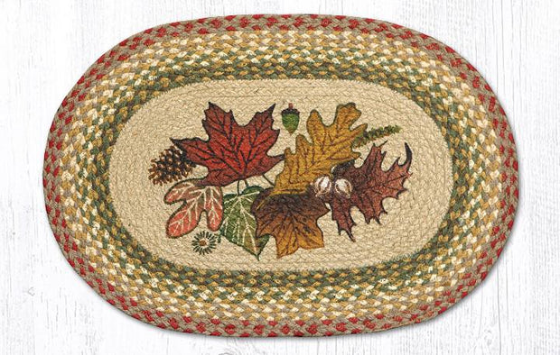 "Capitol Earth Rugs Autumn Leaves Printed Jute Placemat, 13"" x 19"""