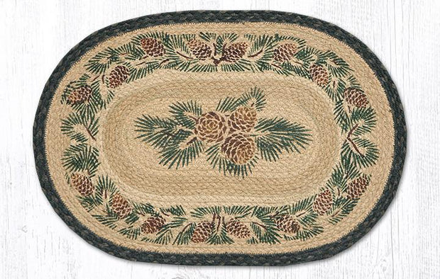 Pinecone Printed Jute Placemat - Oval Only