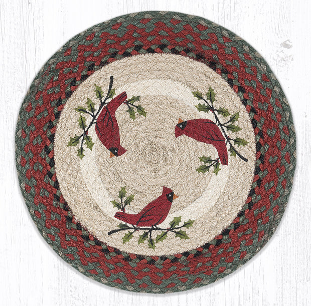 "Capitol Earth Rugs Holly Cardinal Printed Placemat, 15"" Round"