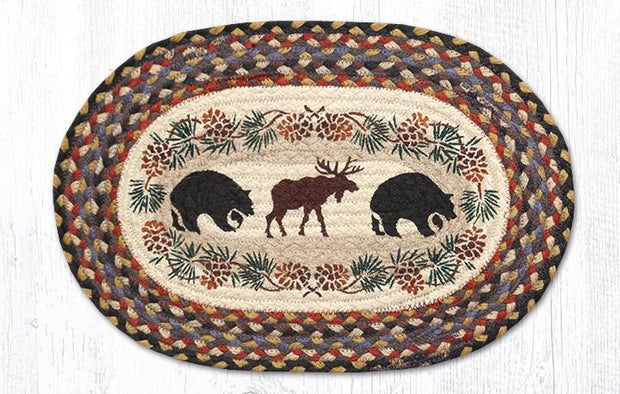 "Capitol Earth Rugs Bear & Moose Printed Jute Placemat, 13"" x 19"""
