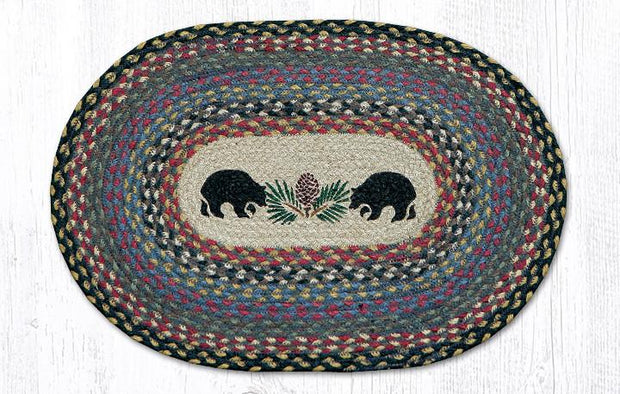 "Capitol Earth Rugs Black Bears Printed Jute Placemat, 13"" x 9"""
