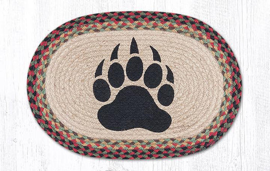Capitol Earth Rugs Bear Paw Printed Jute Placemat, 13