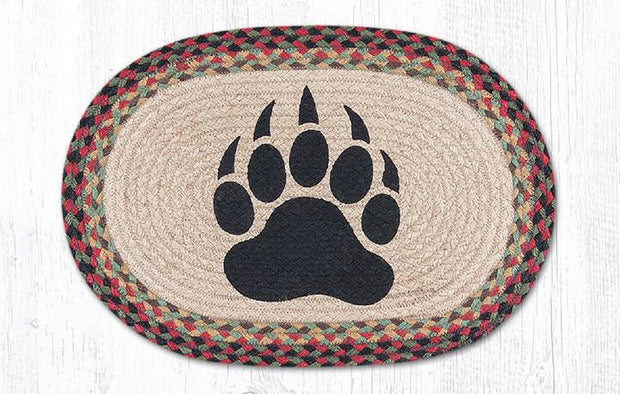 "Capitol Earth Rugs Bear Paw Printed Jute Placemat, 13"" x 19"" Oval"