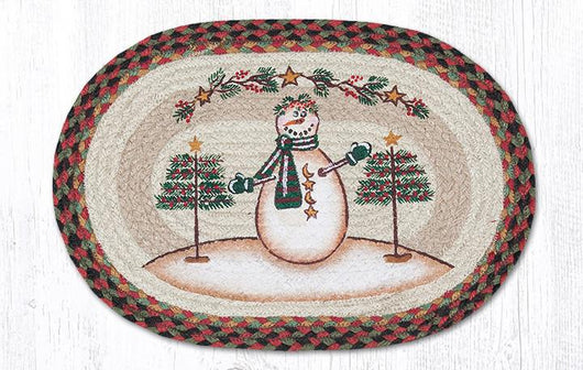 Capitol Earth Rugs Moon & Star Snowman Printed Jute Placemat, 13