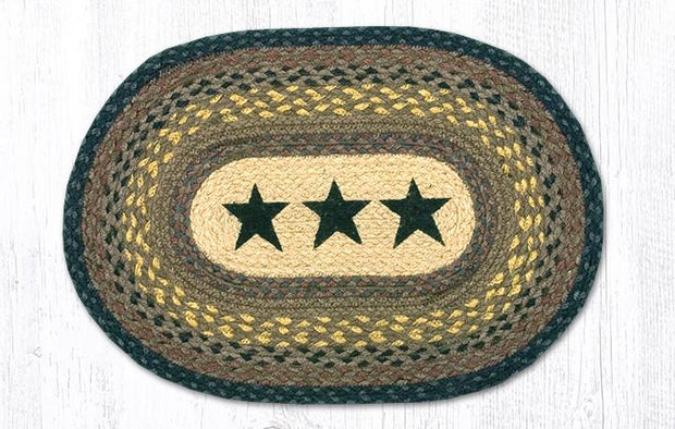 "Capitol Earth Rugs Black Stars Printed Jute Placemat, 13"" x 19"""