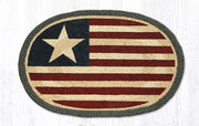 "Capitol Earth Rugs Original Flag Printed Jute Placemat, 13"" x 19"" Oval"