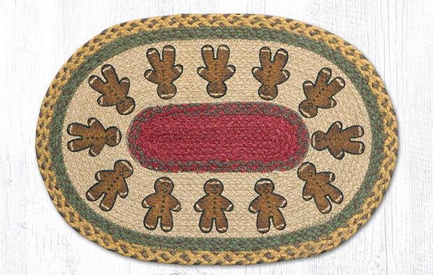 "Capitol Earth Rugs Gingerbread Men Printed Jute Placemat, 13"" x 19"""