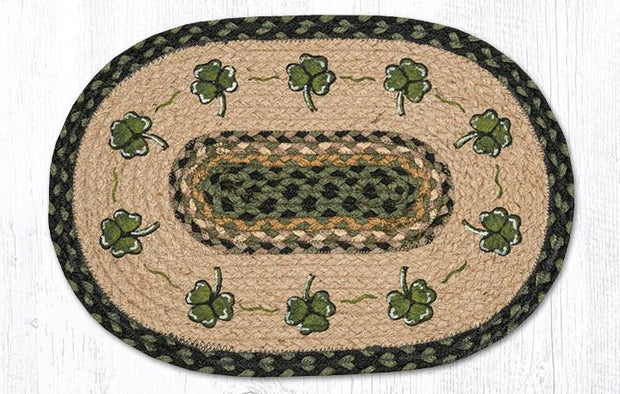 "Capitol Earth Rugs Shamrock Printed Jute Placemat, 13"" x 19"""