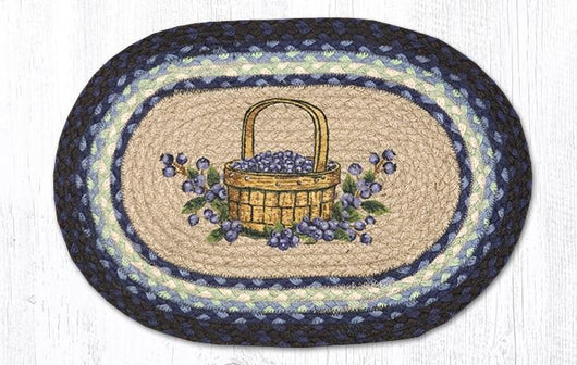 Capitol Earth Rugs Blueberry Basket Printed Jute Placemat, 13