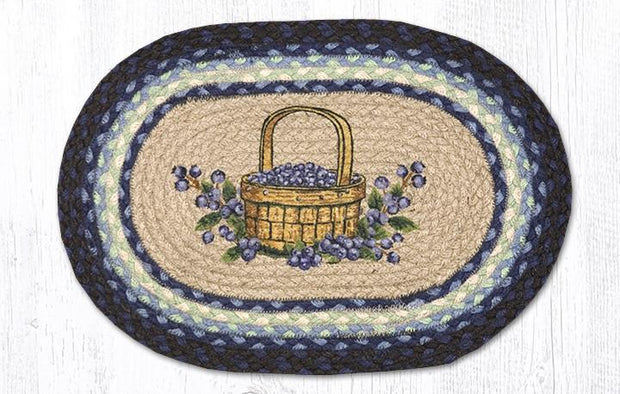 "Capitol Earth Rugs Blueberry Basket Printed Jute Placemat, 13"" x 19"""