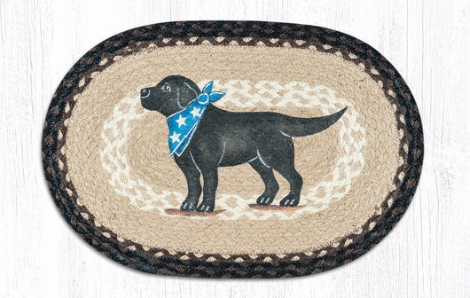 Capitol Earth Rugs Black Lab Printed Jute Placemat, 13