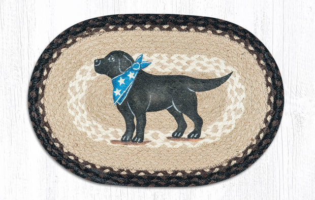 "Capitol Earth Rugs Black Lab Printed Jute Placemat, 13"" x 19"""