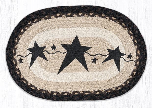"Capitol Earth Rugs Black Primitive Star Printed Placemat, 13"" x 19"" Oval"