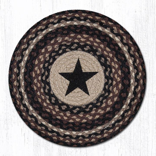 "Capitol Earth Rugs Black Star Printed Jute Placemat, 15"" Round"