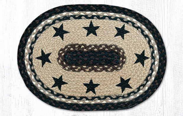 "Capitol Earth Rugs Black Stars Printed Jute Placemat, 13"" x 19"" Oval"