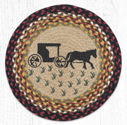 "Capitol Earth Rugs Amish Buggy Printed Jute Placemat, 15"" Round"