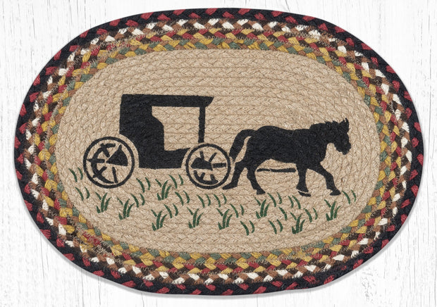 "Capitol Earth Rugs Amish Buggy Printed Jute Placemat, 13"" x 19"" Oval"