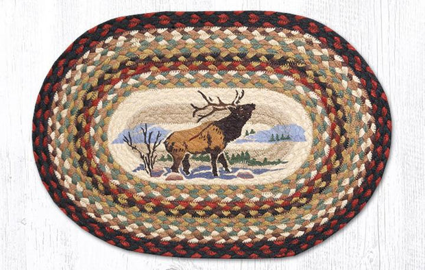 "Capitol Earth Rugs Winter Elk Printed Jute Placemat, 13"" x 19"""