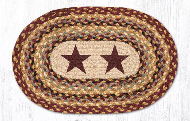 "Capitol Earth Rugs Burgundy Stars Printed Jute Placemat, 13"" x 19"" Oval"