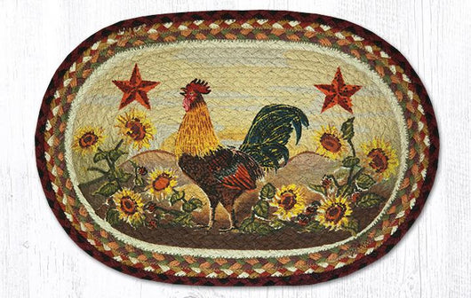Capitol Earth Rugs Morning Rooster Printed Jute Placemat, 13
