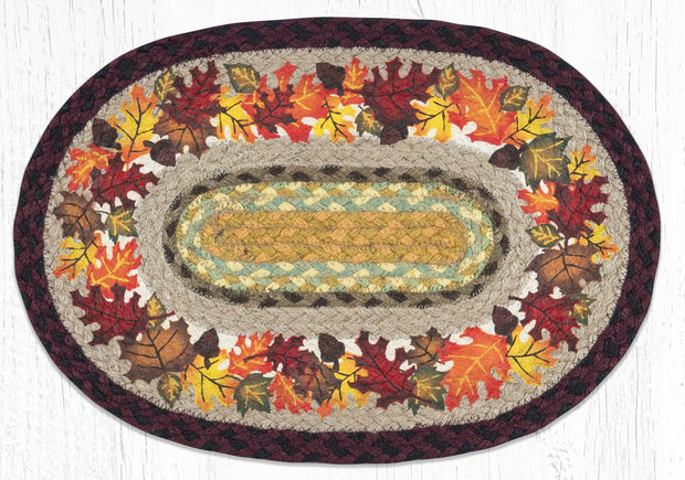 "Capitol Earth Rugs Autumn Printed Jute Placemat, 13"" x 19"" Oval"