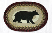 "Capitol Earth Rugs Cabin Bear Printed Jute Placemat, 13"" x 19"" Oval"