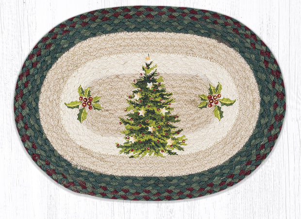 "Capitol Earth Rugs Christmas Joy Printed Placemat, 13"" x 19"" Oval"