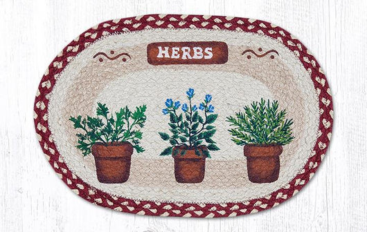 Capitol Earth Rugs Herbs Printed Jute Placemat, 13