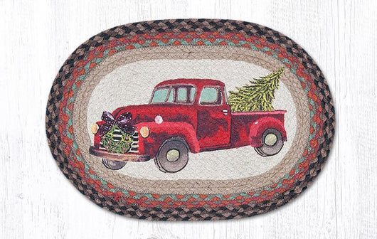 Capitol Earth Rugs Christmas Truck Printed Jute Placemat, 13