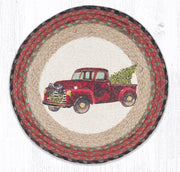 "Capitol Earth Rugs Christmas Truck Printed Jute Placemat, 15"" Round"