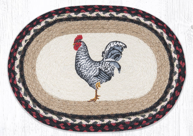 "Capitol Earth Rugs Black & White Rooster Printed Placemat, 13"" x 19"" Oval"
