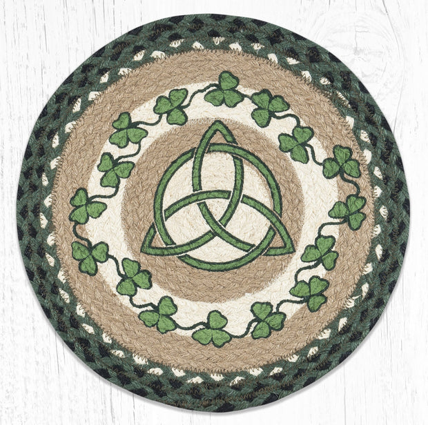 "Capitol Earth Rugs Irish Shamrock Printed Jute Placemat, 15"" Round"