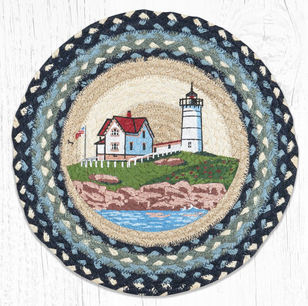 "Capitol Earth Rugs Nubble Lighthouse Printed Jute Placemat, 15"" Round"