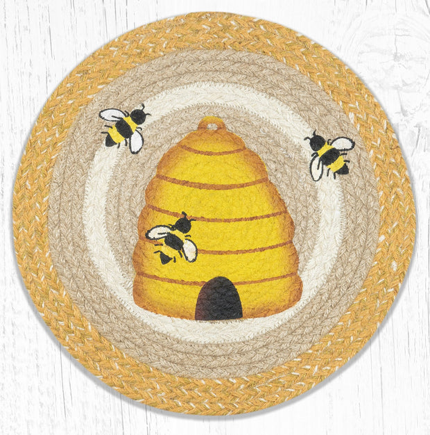 "Capitol Earth Rugs Beehive Printed Jute Placemat, 15"" Round"