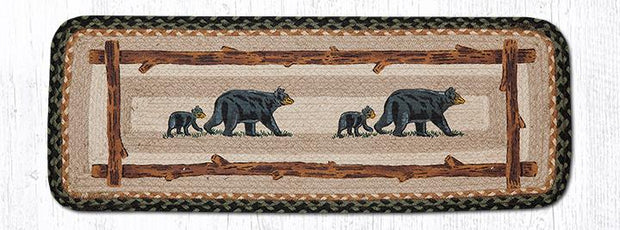 "Capitol Earth Rugs Mama & Baby Bear Printed Jute Table Runner, 13"" x 36"" Rectangle"