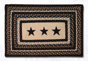 "Capitol Earth Rugs Black Stars Printed Jute Patch Rug, 20"" x 30"" Oblong"