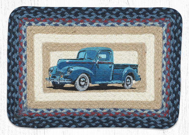 "Capitol Earth Rugs Blue Truck Printed Jute Placemat, 13"" x 19"" Oblong"