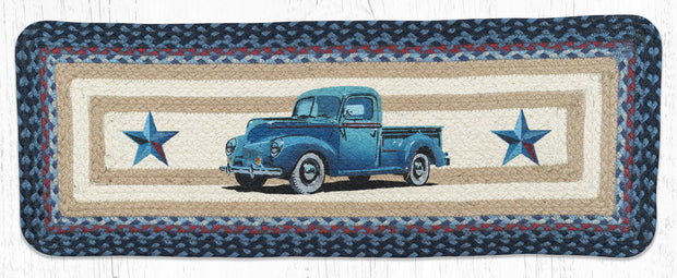 "Capitol Earth Rugs Blue Truck Printed Jute Table Runner, 13"" x 36"" Oblong"