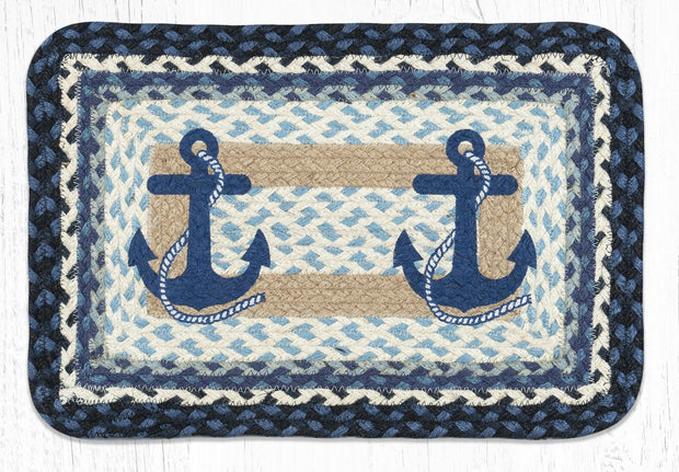 "Capitol Earth Rugs Navy Anchor Printed Jute Placemat, 13"" x 19"" Oblong"