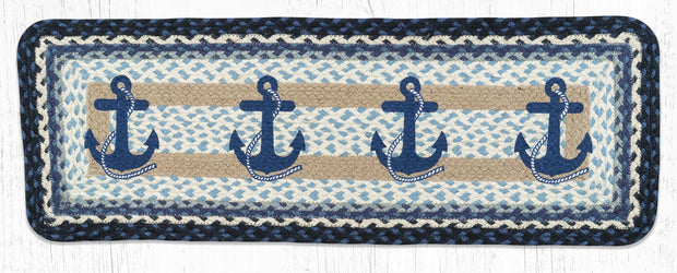 Navy Anchor Printed Jute Table Runner - Oval, Oblong, & Tri-Circle