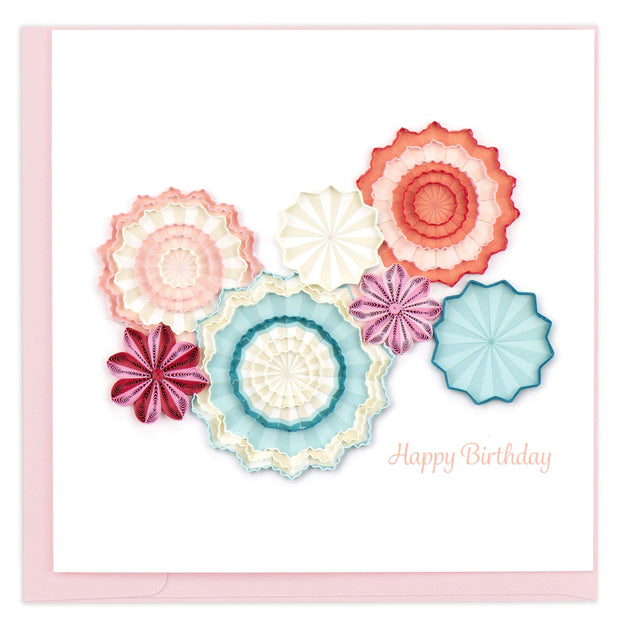 Birthday Paper Fans Quilling Card