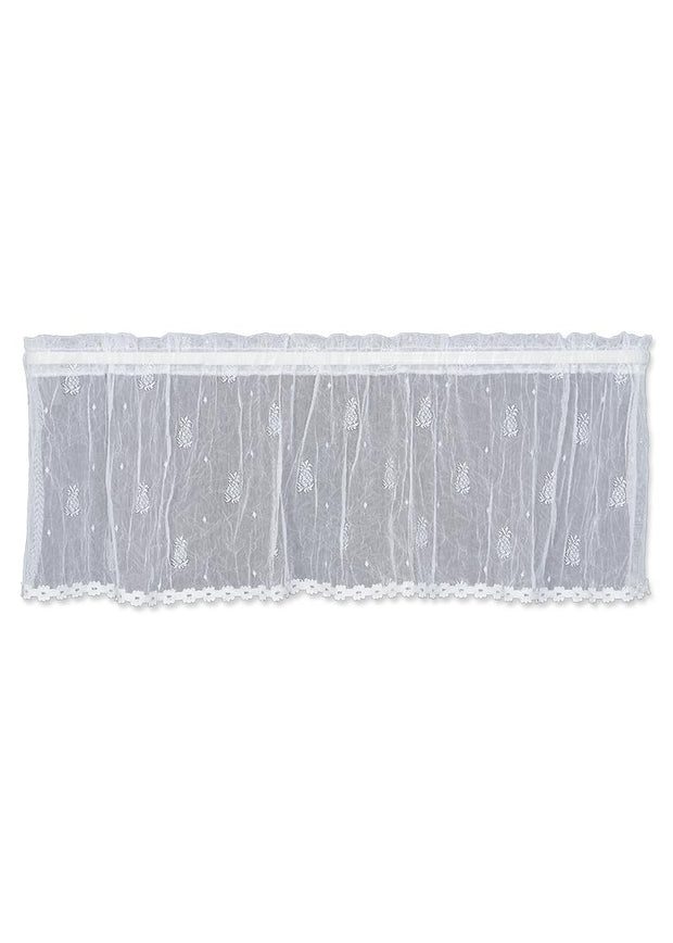 Heritage Lace Pineapple Valance with Trim, White