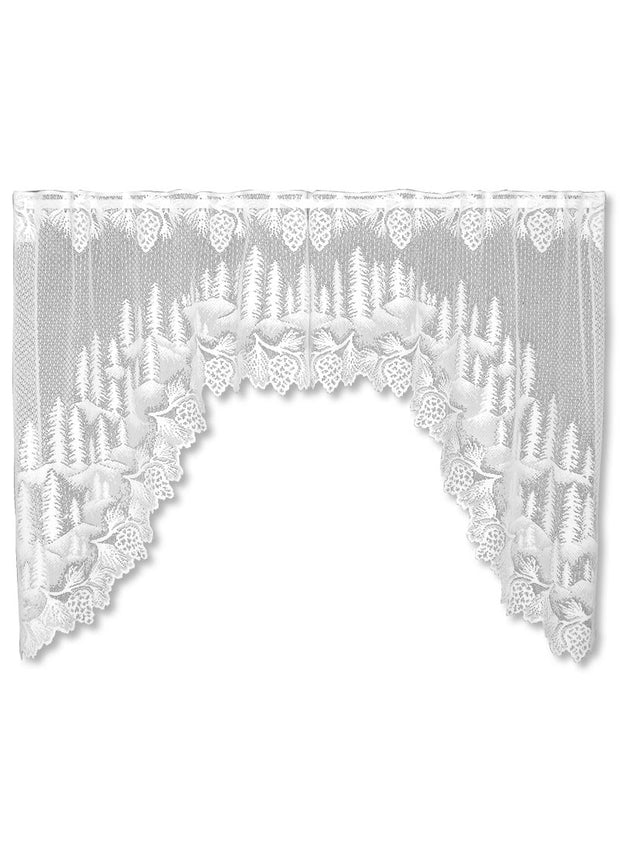 Heritage Lace Pinecone Swag Pair, White