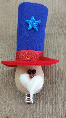 Vickie Jean's Creations Primitive Uncle Sam Hand-Dipped Silicone Candelabra Bulb