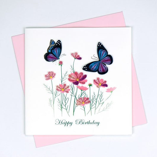 Birthday Flowers & Butterflies Quilling Card