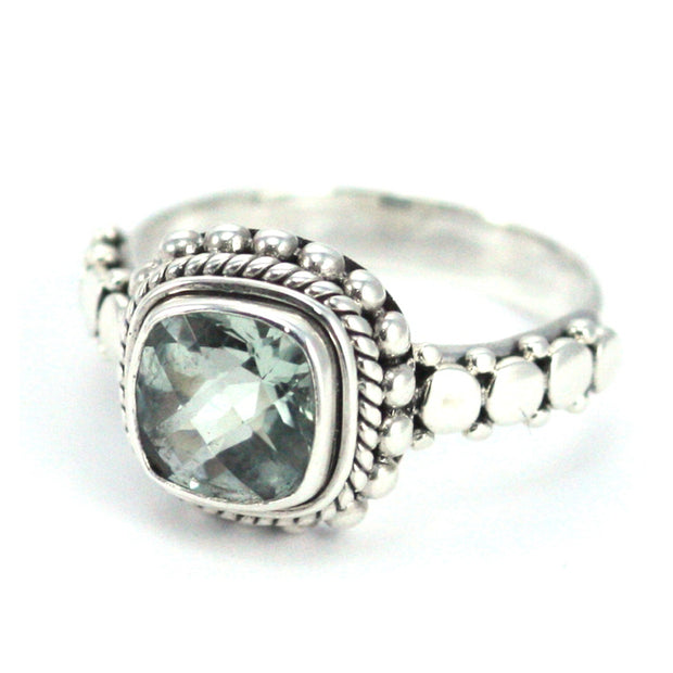 Indiri Collection PADMA Cushion Green Amethyst Ring