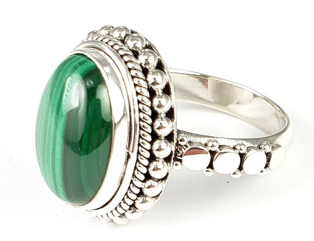 Indiri Collection SANUR Malachite Granulation Ring, size 7