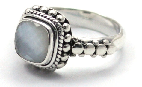 Indiri Collection PADMA Beaded Mother of Pearl Ring