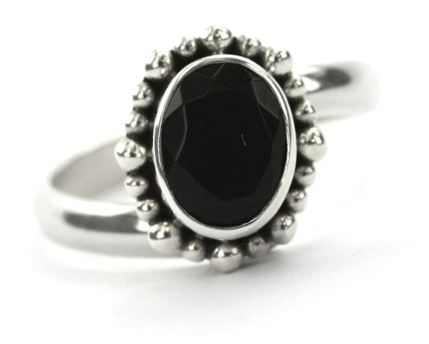 Indiri Collection PADMA Oval Faceted Black Onyx Beaded Adjustable Ring